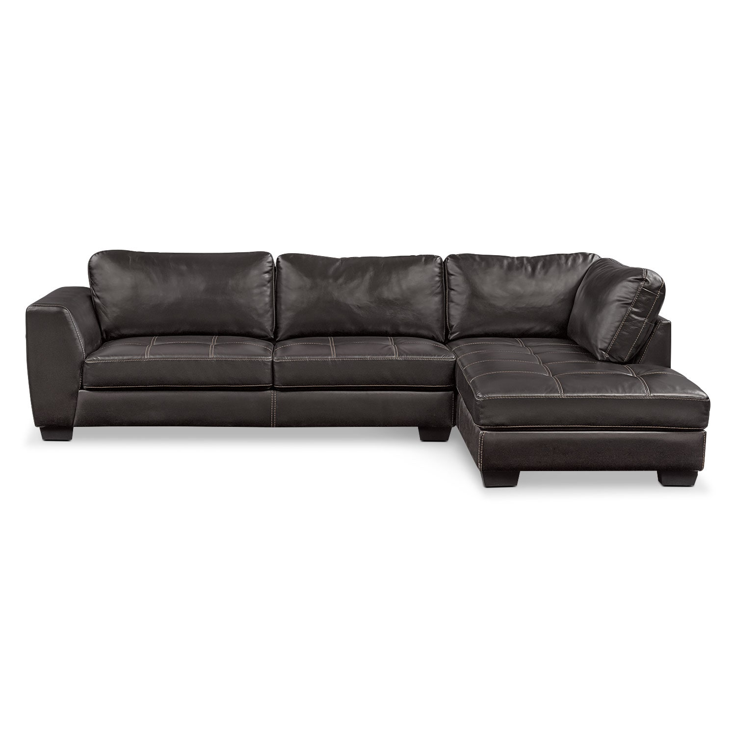 Living Room Furniture   Santana 2 Piece Sectional With Right Facing Chaise    Black