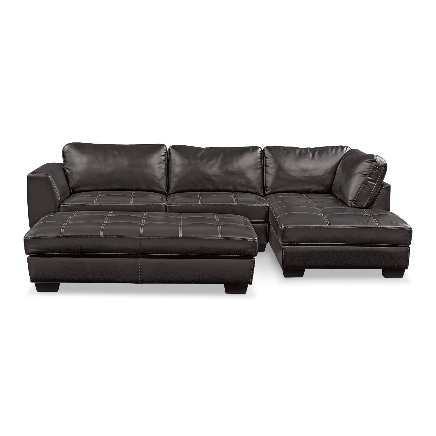 Santana 2-Piece Sectional with Right-Facing Chaise Plus FREE Cocktail Ottoman - Black