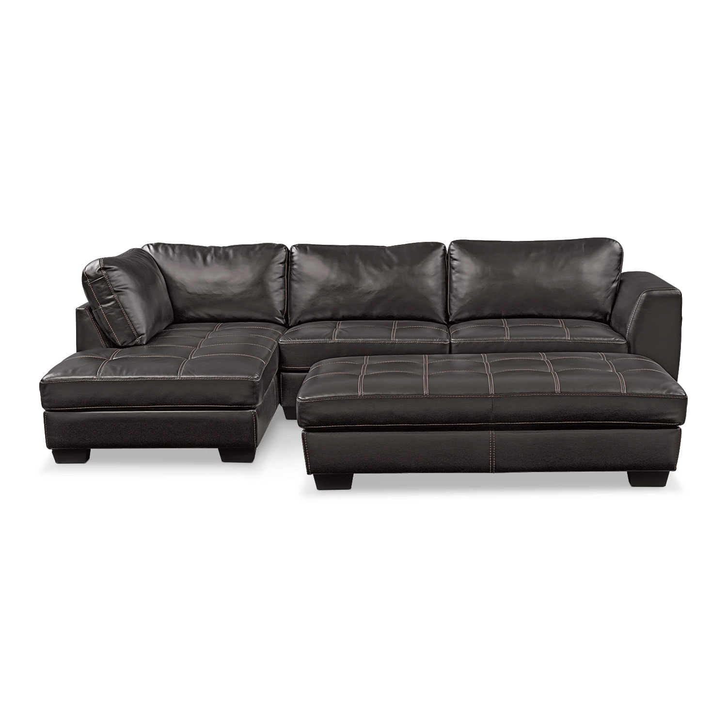 Santana 2-Piece Sectional with Left-Facing Chaise Plus FREE Cocktail Ottoman - Black