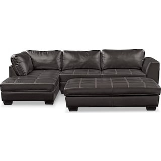 Santana 2-Piece Sectional with Left-Facing Chaise and Cocktail Ottoman Set - Black