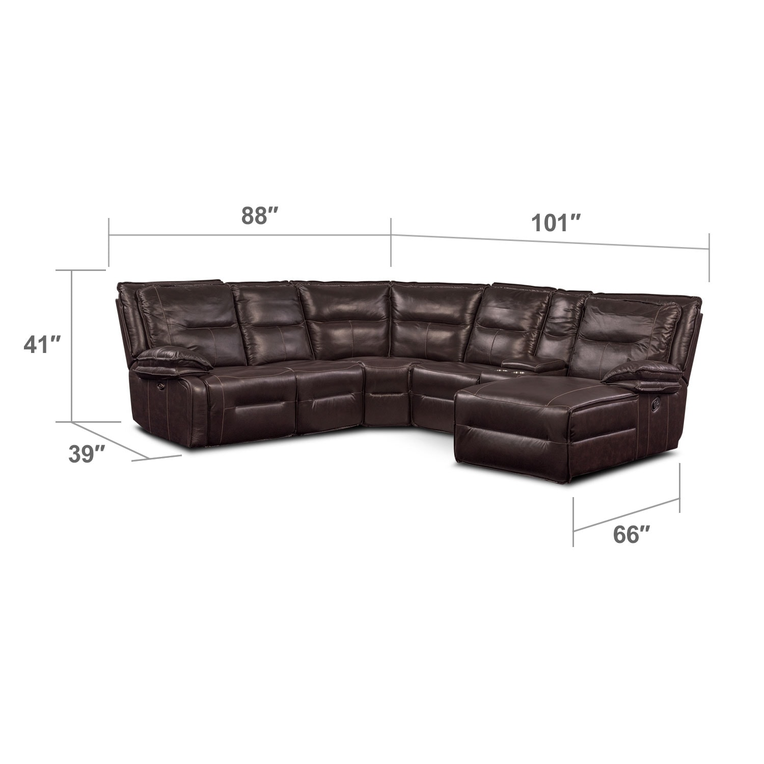 Living Room Furniture - Nikki 6-Piece Power Reclining Sectional with 1 Recliner and Right-Facing Chaise - Brown
