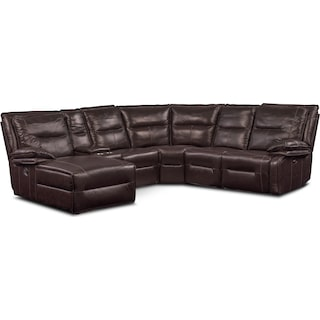 Nikki 6-Piece Power Reclining Sectional with 1 Recliner and Left-Facing Chaise - Brown