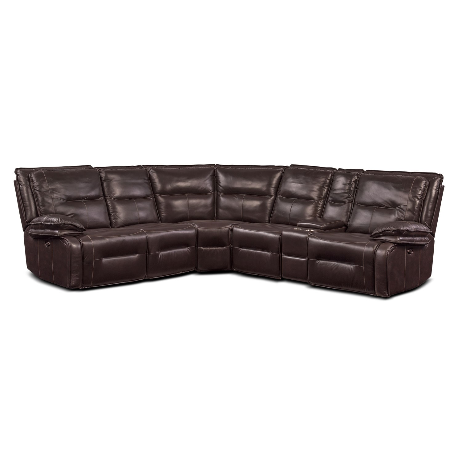 Nikki 6-Piece Power Reclining Sectional with 3 Recliners - Brown