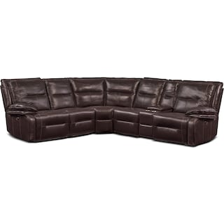 Nikki 6-Piece Power Reclining Sectional with 2 Recliners - Brown