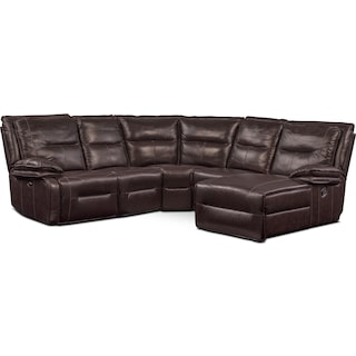Nikki 5-Piece Power Reclining Sectional with 1 Recliner and Right-Facing Chaise - Brown