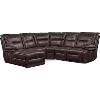 Nikki 5-Piece Power Reclining Sectional with 1 Recliner and Left-Facing Chaise - Brown