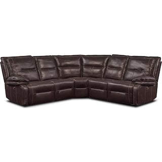 Nikki 5-Piece Power Reclining Sectional with 3 Recliners - Brown