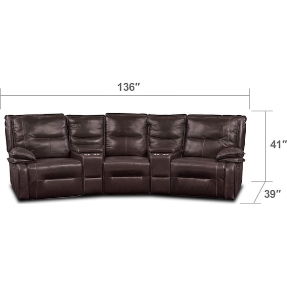 Living Room Furniture - Nikki 5-Piece Power Reclining Home Theater Sectional - Brown