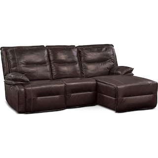 Nikki 3-Piece Power Reclining Sectional with Right-Facing Chaise - Brown