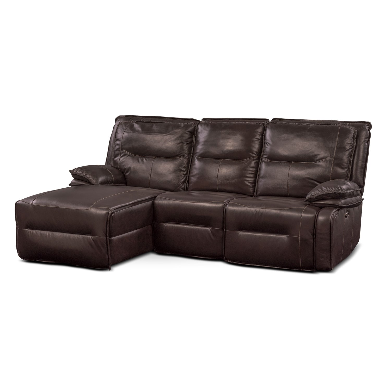Nikki 3-Piece Power Reclining Sectional with Left-Facing Chaise - Brown