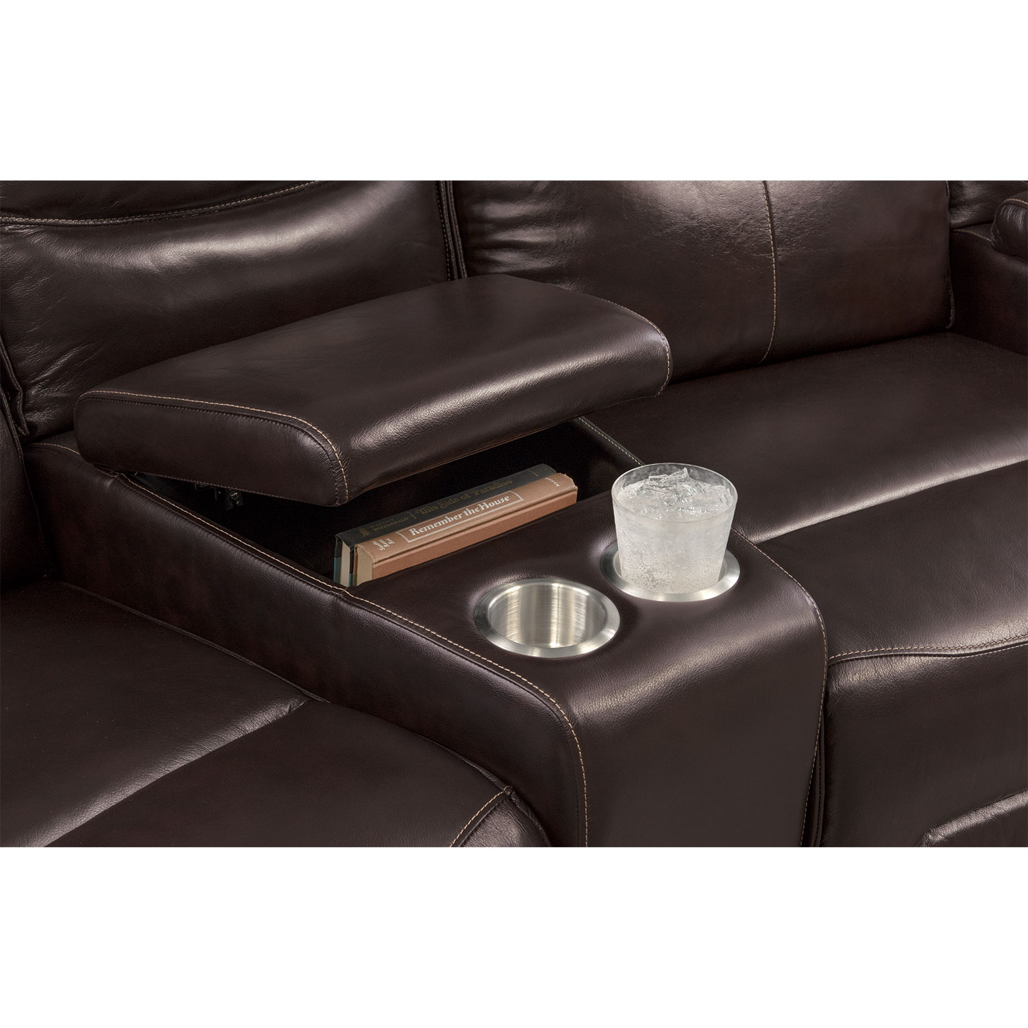 Nikki 5 Piece Power Reclining Home Theater Sectional Brown