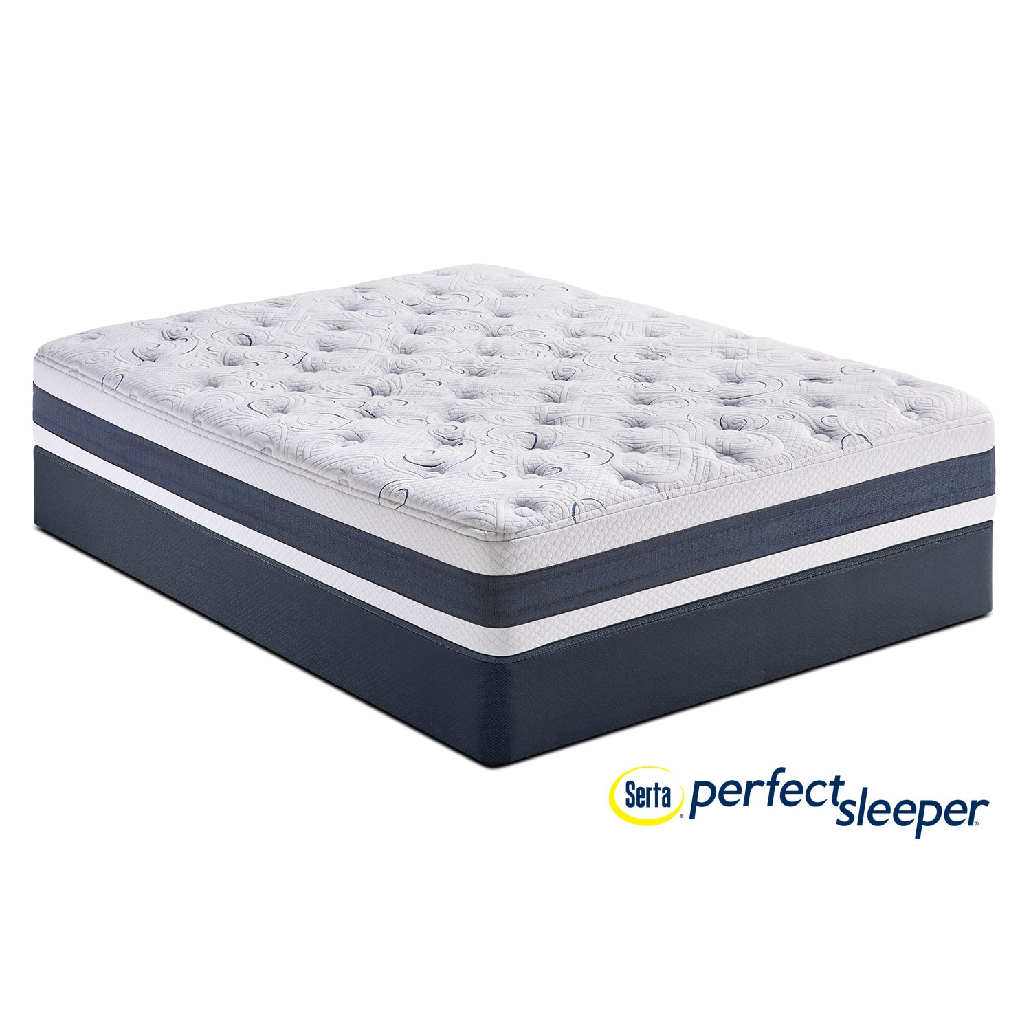 Perfect Sleeper Shadow Falls Plush King Mattress and Split Low-Profile Foundation Set