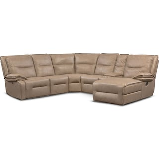 Nikki 6-Piece Power Reclining Sectional with 1 Recliner and Right-Facing Chaise - Taupe