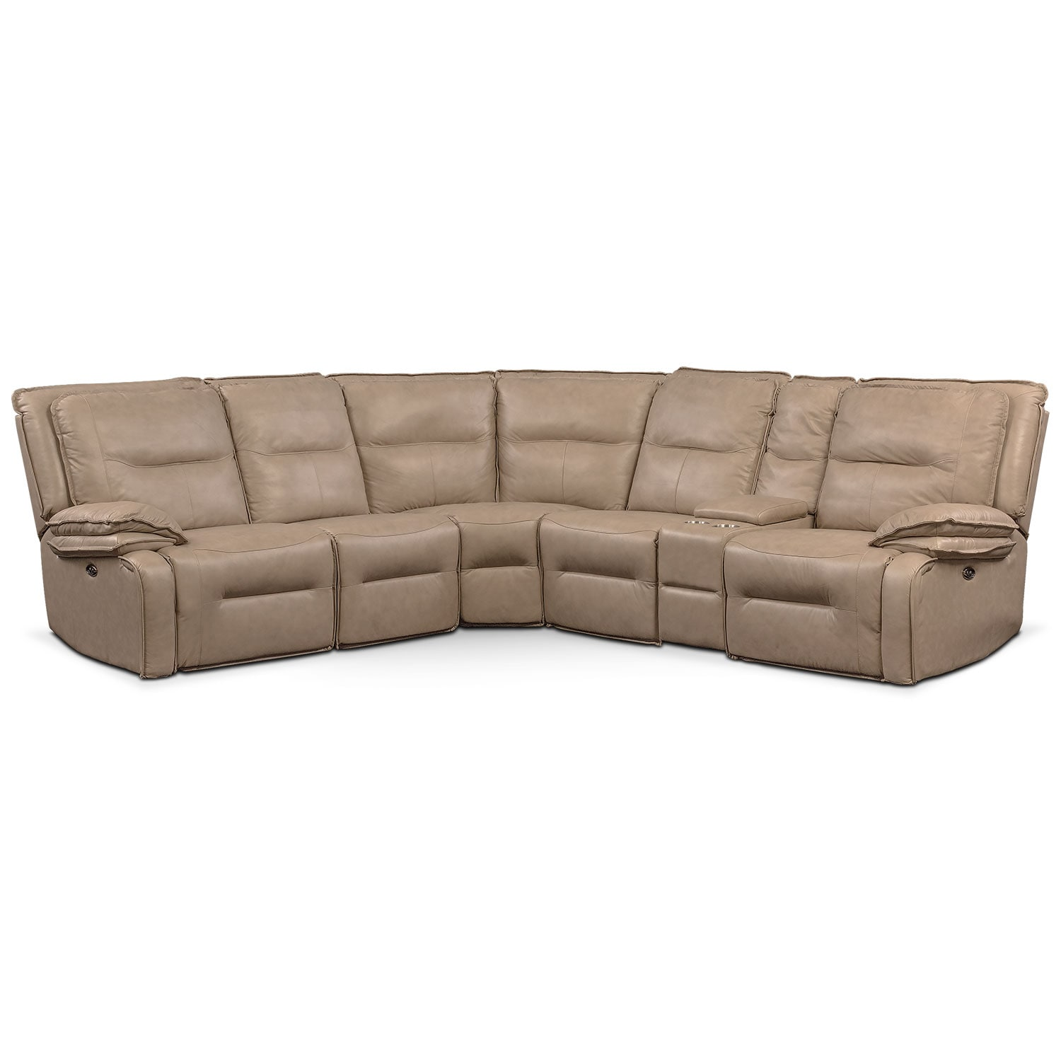 Nikki 6-Piece Power Reclining Sectional with 3 Recliners - Taupe