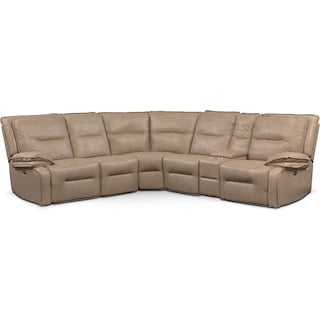 Nikki 6-Piece Power Reclining Sectional with 2 Recliners - Taupe