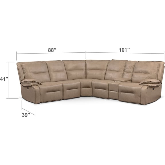 Living Room Furniture - Nikki 6-Piece Power Reclining Sectional with 3 Recliners - Taupe
