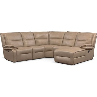 Nikki 5-Piece Power Reclining Sectional with 1 Recliner and Right-Facing Chaise - Taupe
