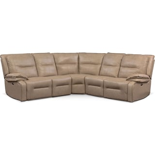 Nikki 5-Piece Power Reclining Sectional with 2 Recliners - Taupe
