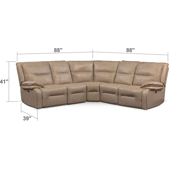 Living Room Furniture - Nikki 5-Piece Power Reclining Sectional with 2 Recliners - Taupe