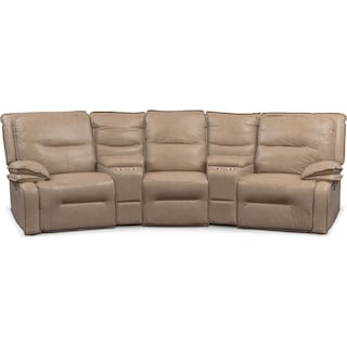 Nikki 5-Piece Power Reclining Home Theater Sectional - Taupe