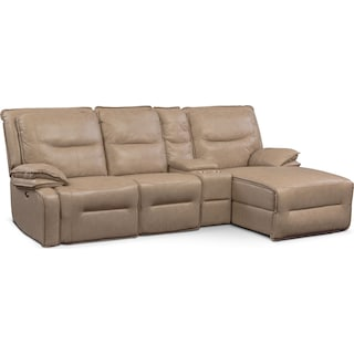 Nikki 4-Piece Power Reclining Sectional with Right-Facing Chaise - Taupe