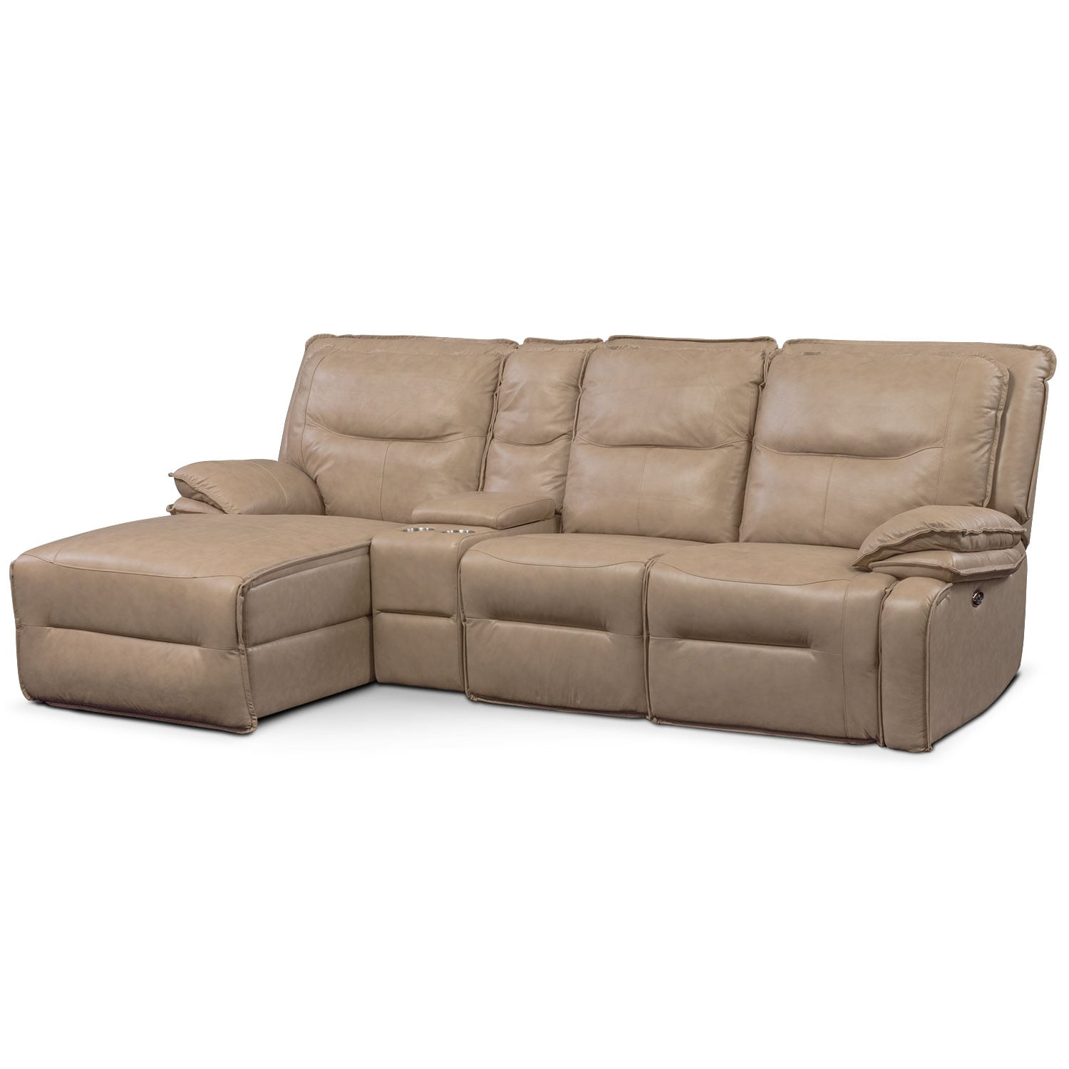 Living Room Furniture - Nikki 4-Piece Power Reclining Sectional with Left-Facing Chaise - Taupe