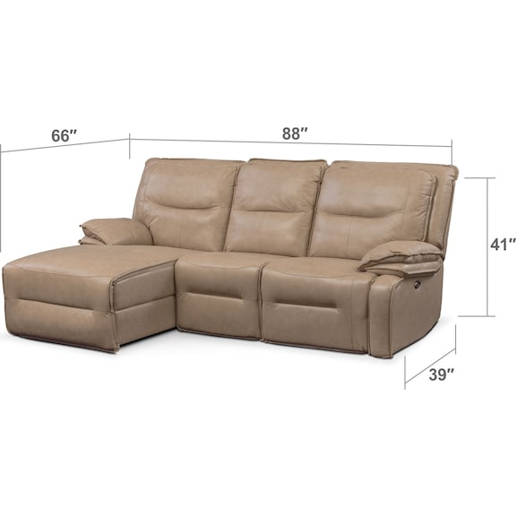 Living Room Furniture - Nikki 3-Piece Power Reclining Sectional with Left-Facing Chaise - Taupe
