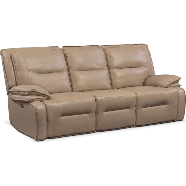 Living Room Furniture - Nikki 3-Piece Power Reclining Sectional with 2 Recliners - Taupe