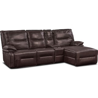 Nikki 4-Piece Power Reclining Sectional with Right-Facing Chaise - Brown