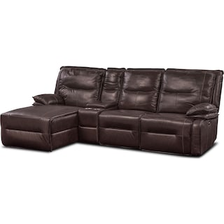 Nikki 4-Piece Power Reclining Sectional with Left-Facing Chaise - Brown
