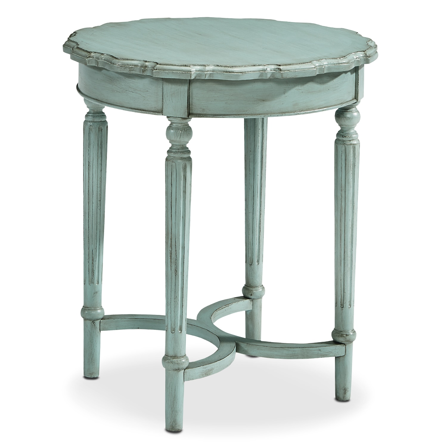 French Pie Crust Tall Table - French Blue