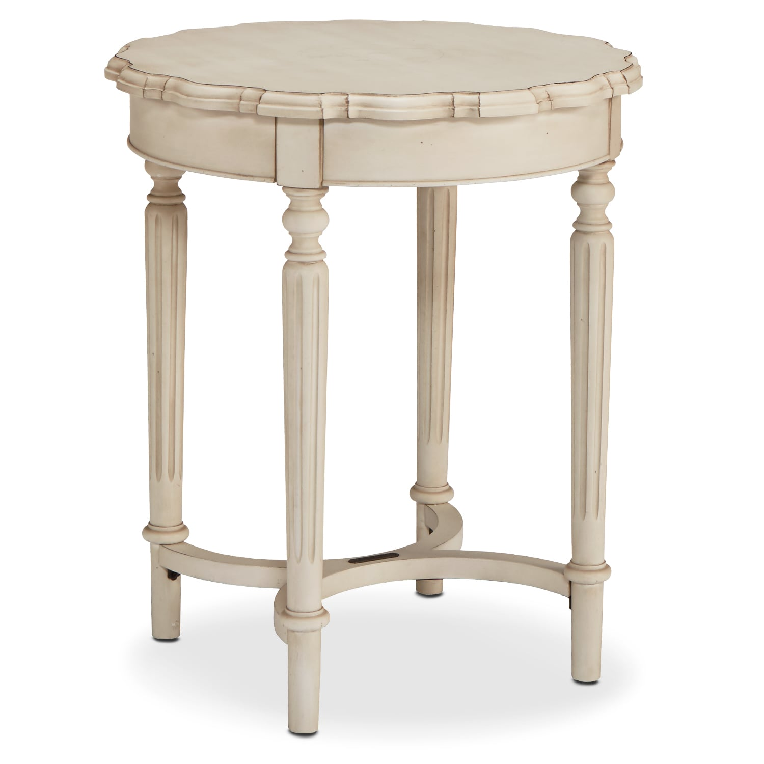 French Pie Crust Tall Table - Antique White