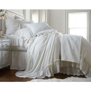 Caprice Queen Duvet Cover - White