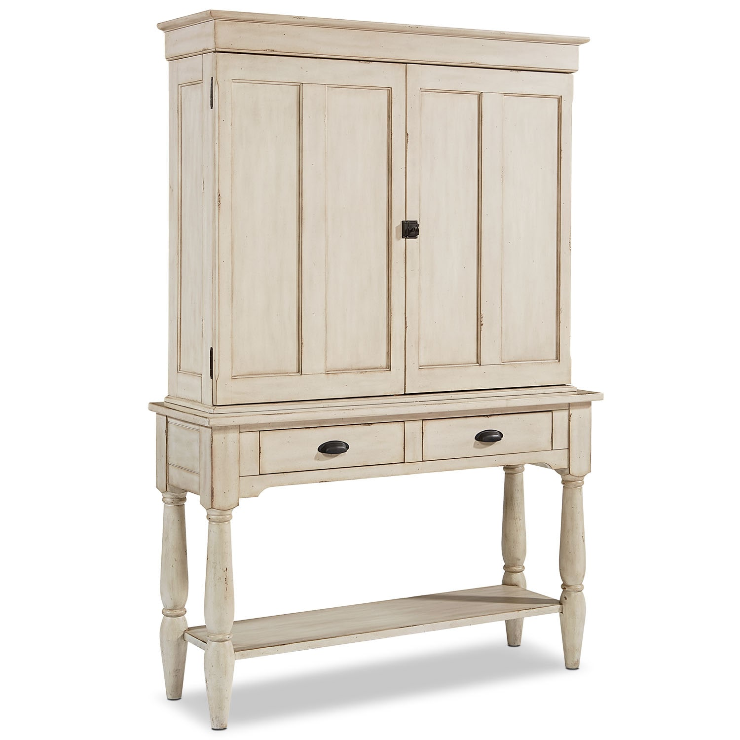 Dining Room Furniture - Taper Turned Console with Hutch - Antique White