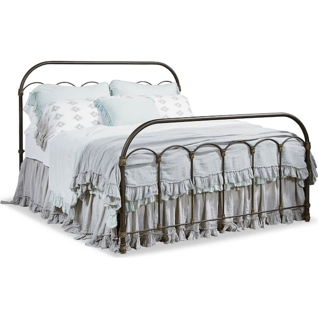 Bedroom Furniture - Colonnade Metal Queen Bed - Blackened Bronze