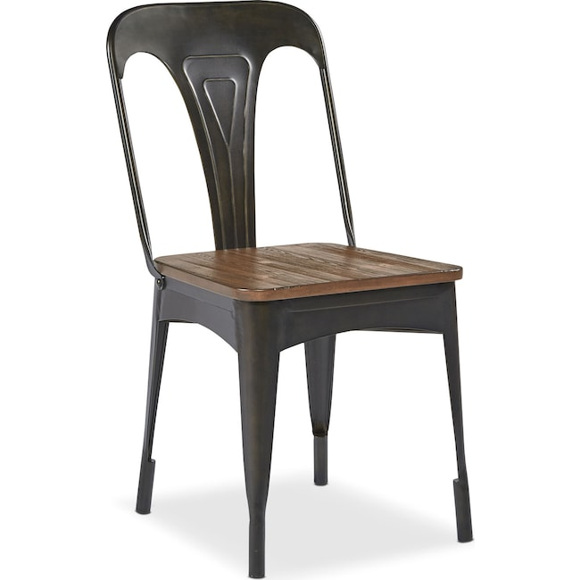 Dining Room Furniture - Set of 2 Metal Cafe Chairs