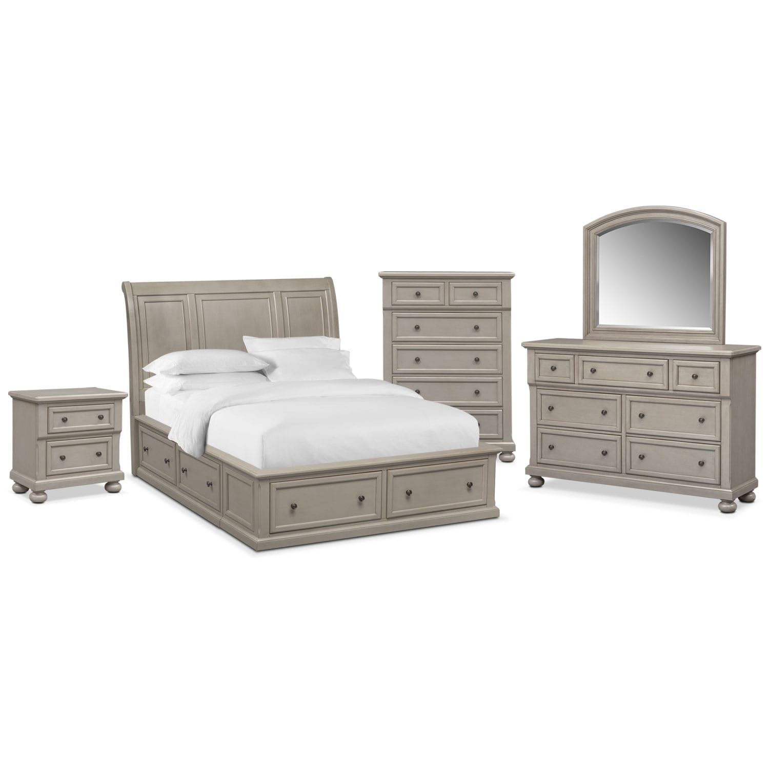Bedroom Furniture - Hanover Queen 7-Piece Storage Bedroom Set - Gray