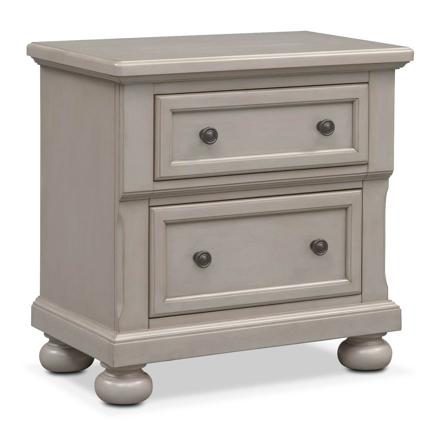 Bedroom Furniture - Hanover Nightstand - Gray