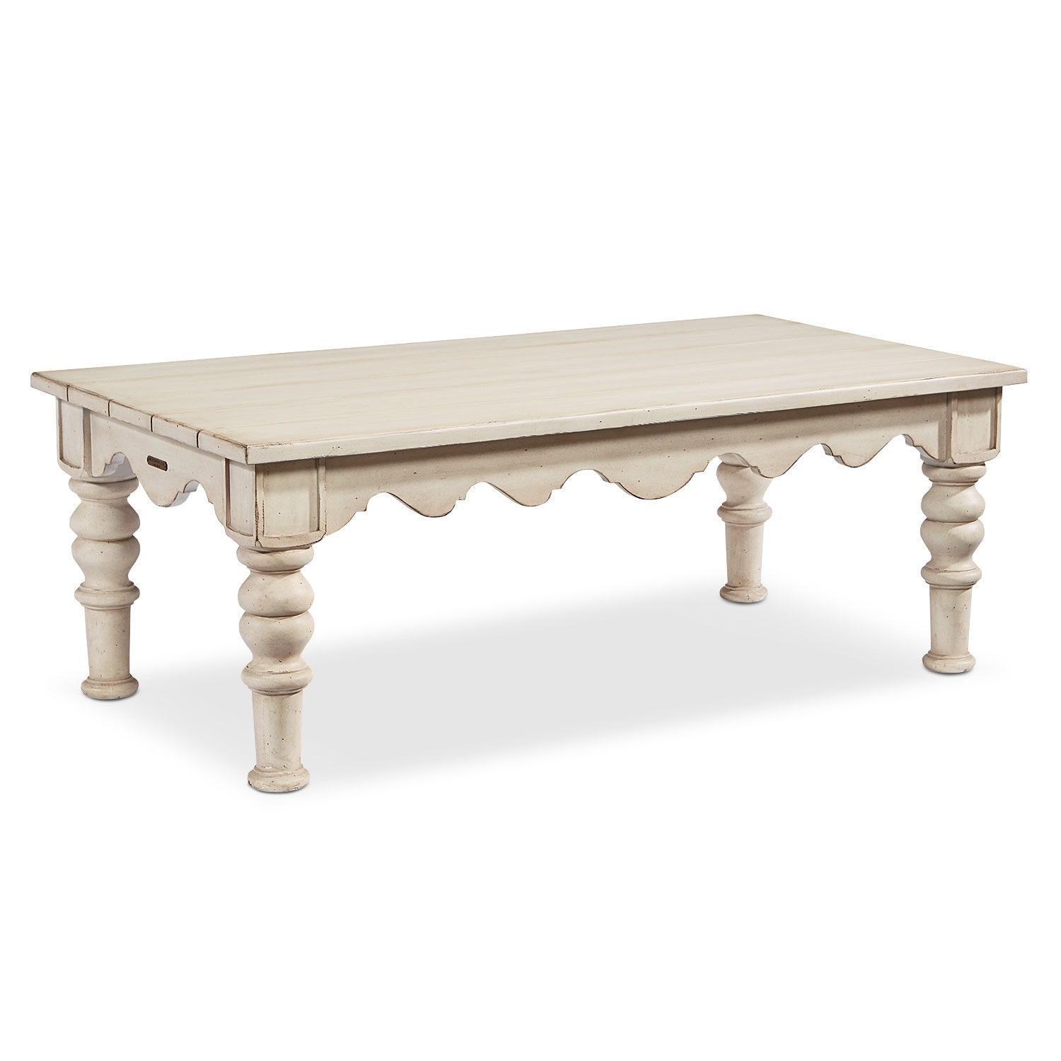 Accent and Occasional Furniture - Scallop Coffee Table - Antique White