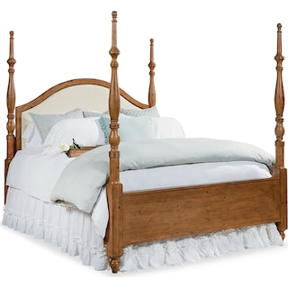 Camelback Upholstered Poster Queen Bed - Bench