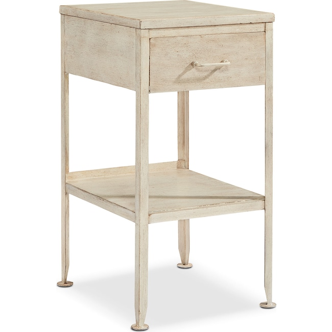Accent and Occasional Furniture - Metal Utility Side Table - Antique White