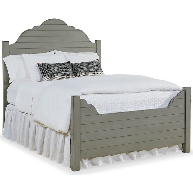 Bedroom Furniture - King Shiplap Bed - Dove Grey