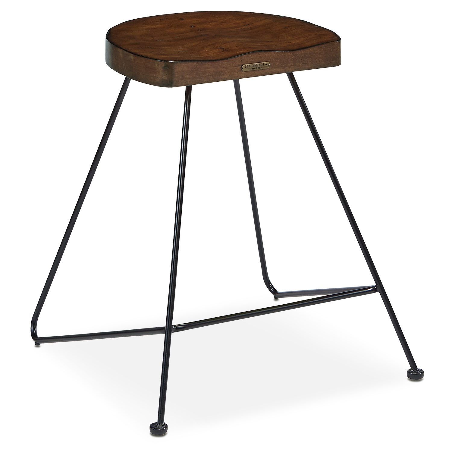 Accent and Occasional Furniture - Metal Framed Stool with Wood Seat - Milk Crate
