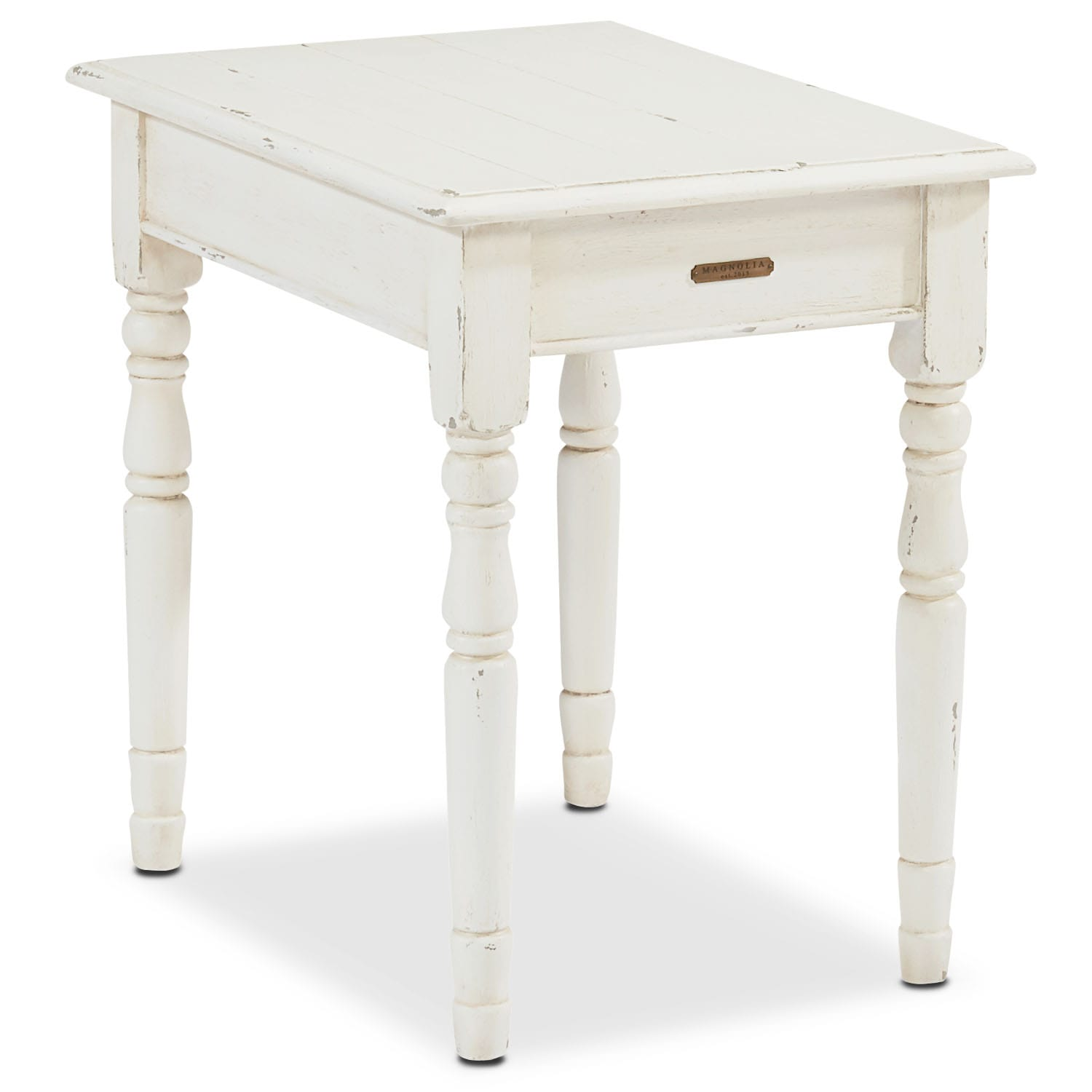 Taper Turned End Table - White