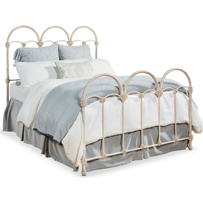 Bedroom Furniture - Rosette Queen Iron Bed - Antique White
