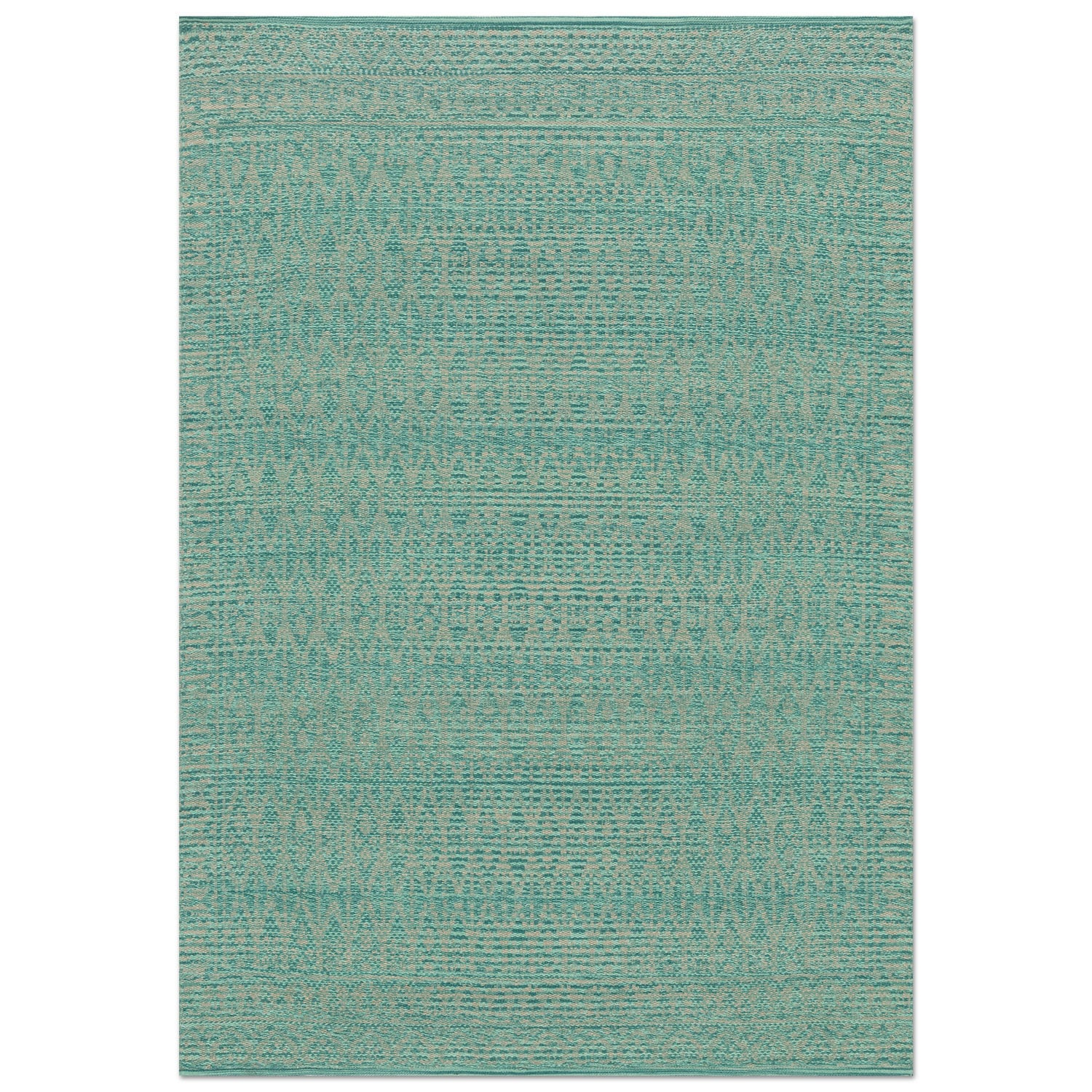 Accent and Occasional Furniture - Emmie Kay 5' x 8' Rug - Turquoise and Dove
