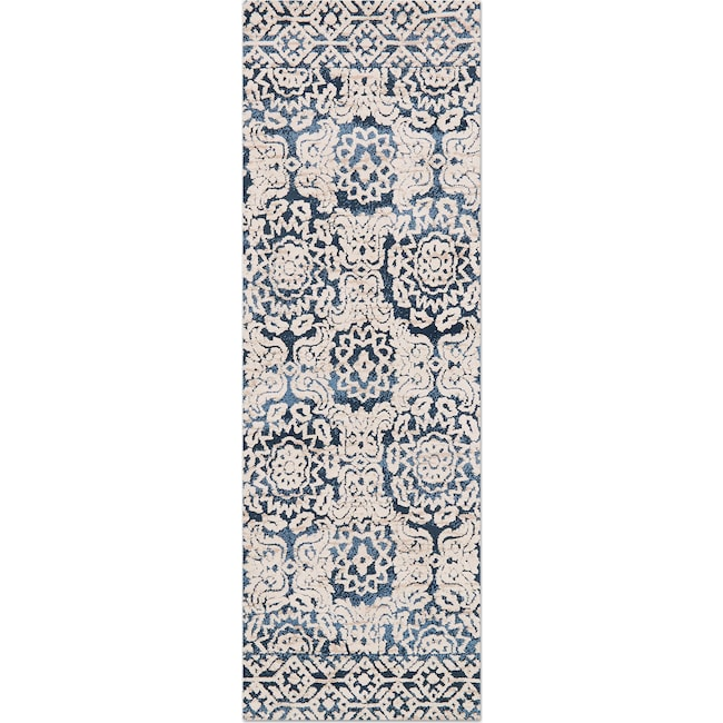 Rugs - Lotus 3' x 8' Rug - Blue & Antique Ivory