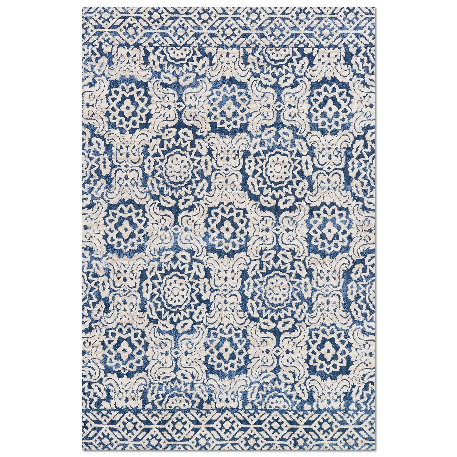 Rugs - Lotus 5' x 8' Rug - Blue and Antique Ivory