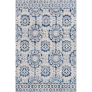 Lotus 9' x 13' Rug - Blue and Antique Ivory