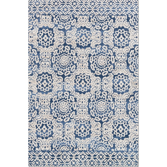 Rugs - Lotus 4' x 6' Rug - Blue and Antique Ivory